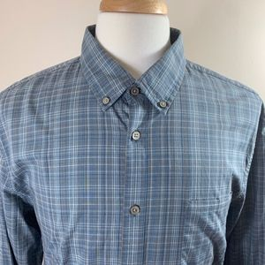 John Varvatos USA Teal Plaid Button Down